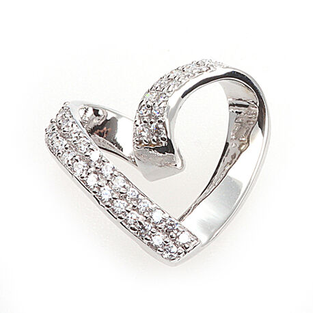 zilveren hanger hart met zirkonia