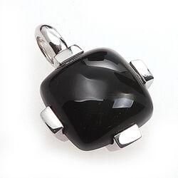 Zilveren grote vierkante hanger onyx