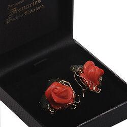 gouden oorbellen bloedkoraal en jade roosjes