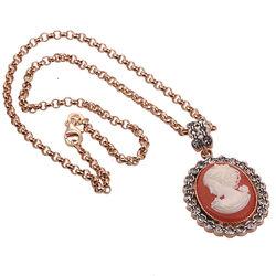 Roseverguld Zilver Collier Met Hanger
