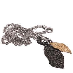 zilveren ketting met grote hangers bicolor bladeren