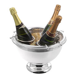 Grote verzilverde wijnkoeler champagnekoeler voor 3 flessen