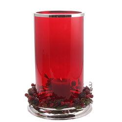Verzilverd windlicht rood glas