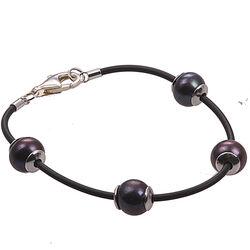 Leren Armband 4 Zwart Parels