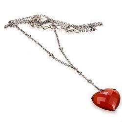 Zilveren ketting met een hart van carneool met markasiet