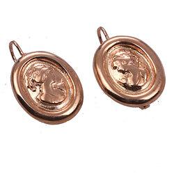 Zilveren oorhangers rosé met portretje
