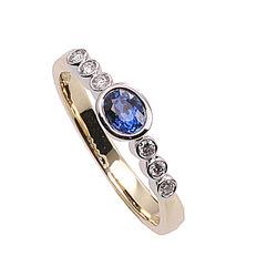 Gouden ring saffier 6 briljanten