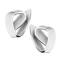 Zilveren oorstekers opgevouwen lint