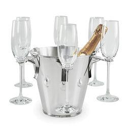 Verzilverde wijnkoeler met glazenhouders