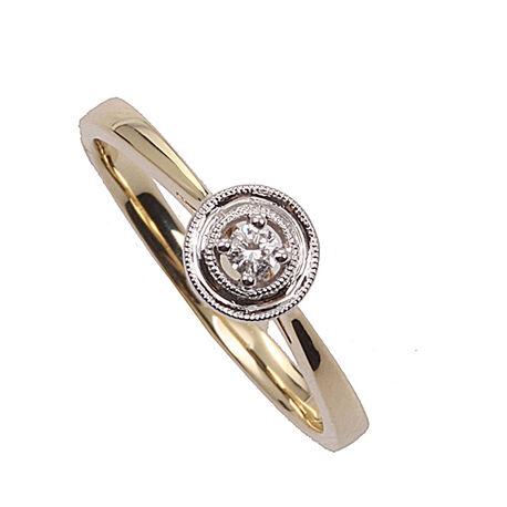 Gouden ring met witgouden kop briljant