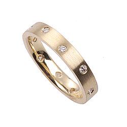 Gouden ring met rondom 10 briljanten