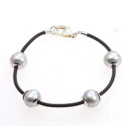 zwart leren armband grijze parels