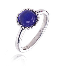 Zilveren ring blauw cat eye Zinzi ZIR793b