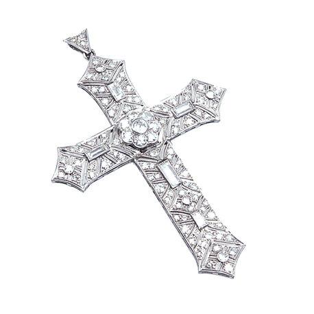 Platina kruis met verschillende diamanten