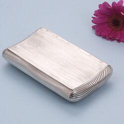Zilveren Tabaksdoos Heupvorm Ribpatroon