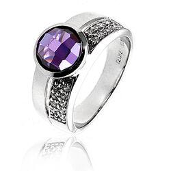 Zilveren ring met paars zirkonia ZIR766p Zinzi