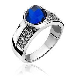 Zilveren ring met facet blauw zirkonia ZIR766b Zinzi