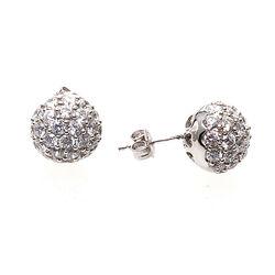 Zilveren oorstekers bal met zirkonia's
