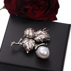 Zilver broche en hanger markasiet met parel