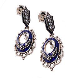 Zilveren Oorhangers Blauw Emaille