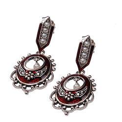 Zilveren Oorhangers Rood Emaille