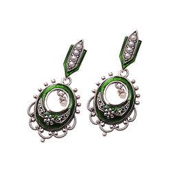 Zilveren Oorhangers Groen Emaille