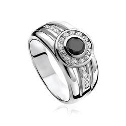 Zilveren ring multilook zwart en wit zirkonia ZIR701 Zinzi