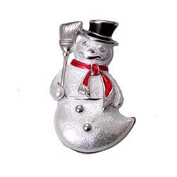 Zilveren broche sneeuwpop van emaille Nicole Barr