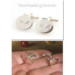 Zilveren manchetknopen ovaal van Carrs cuff/f/s