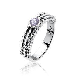 Zilveren ring met bolletjes en paars zirconia ZInzi ZIR800
