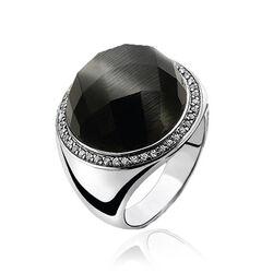 Zilveren ring zwart Cat Eye ZInzi ZIR802