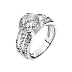Opvallende zilveren ring van Zinzi zir710 met een grote en kleine zirkonia