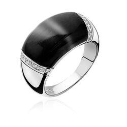 Zilveren ring zwart Cat Eye ZIR794z Zinzi