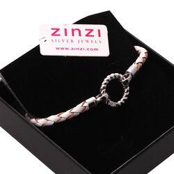 Gevlochten armband wit leer Zinzi zia730w