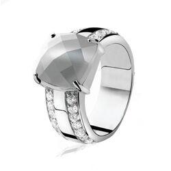 Zilveren ring grijs Cat Eye ZINZI ZIR627
