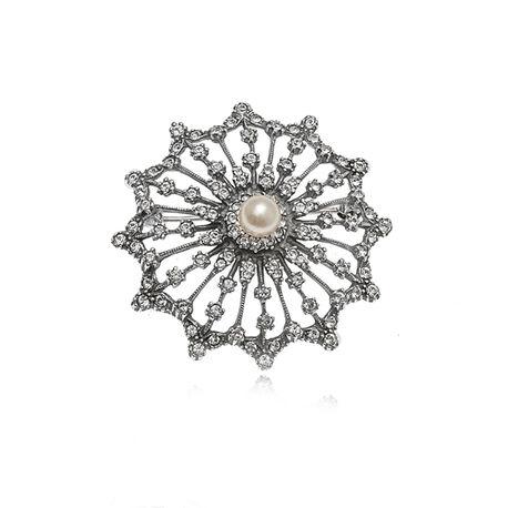 Zilveren broche met Swarovski en glasparel GL Timeless
