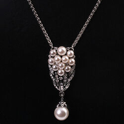 Zilver Collier Kristal En Parels