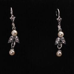 Zilveren oorhangers kristallen glaspareltjes GL