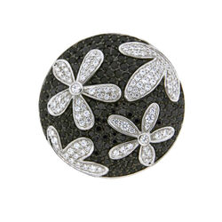 Zilveren Spherique munt zwart bloem 33-0568