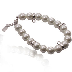 witte crystal parel armband met zilver donuts Zinzi ch-a13