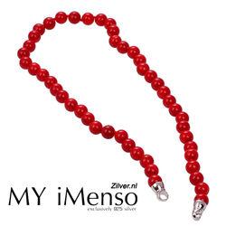 MY iMenso Rood Koraal Collier Zilveren Uiteinden 42cm. 27-0522