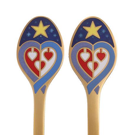 Verguld zilver kerstmiscouvert Glowing Heart 2003