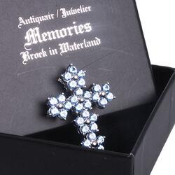 zilveren hanger kruis met blauw zirkonia
