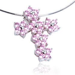 Zilveren hanger kruis roze zirconia