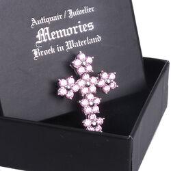 zilveren kruisje hangertje roze zirkonia