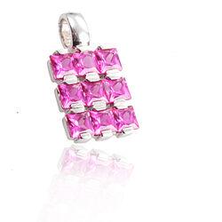 Zilver hangertje roze zirconia