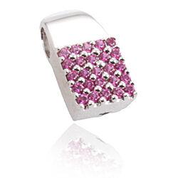 vierkante zilveren hanger met roze zirkonia