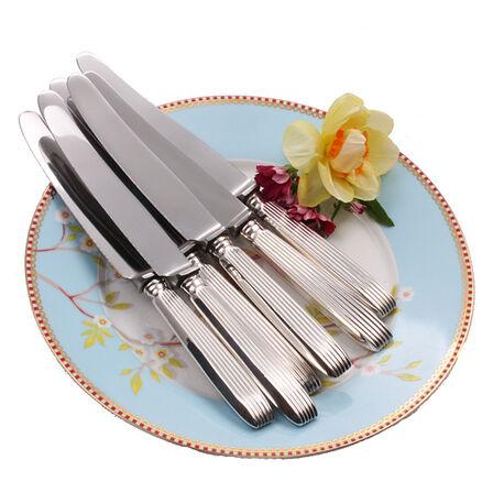 dessertmessen met zilver heft model ribpatroon