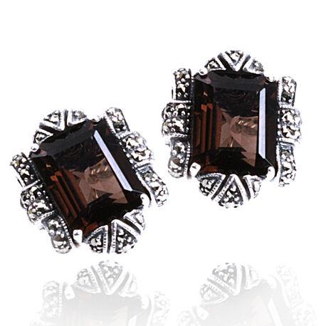 ZIlveren oorbellen met rookquartz en markasiet