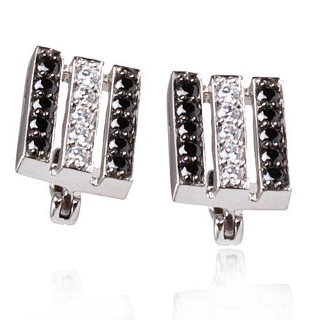 Zilveren oorstekers zwart wit zirkonia